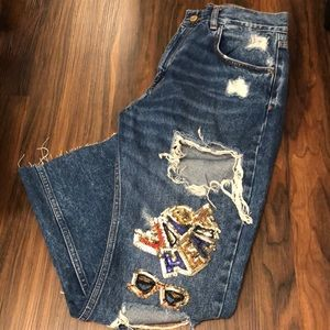 ZARA TRAFALUC Jeans with patch work